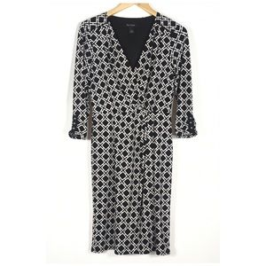 White House Black Market Dresses - WHBM GEO PRINT FAUX WRAP-FRONT DRESS Size 6